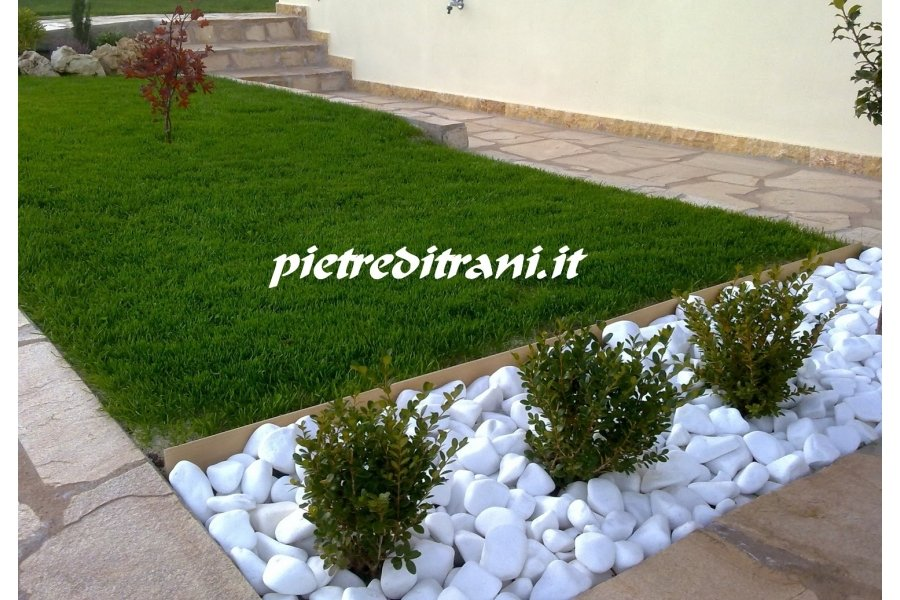 Ciottoli da giardino bianco assoluto 4 buste da kg 25 cad cioffi pietre di trani - Ciottoli bianchi giardino ...